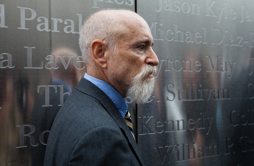 Architect Frederic Schwartz inside the Empty Sky Memorial 9/11 Memorial at Liberty State Park in New Jersey during the opening  on September 10th 2011 for the tenth anniversary of 9/11.<br /> The memorial is two 30-Ft rectangular towers  208 feet by 10 inches long,  the width of the World Trade Center towers and with the names of the 746 New Jerseyans who perished after the terrorist attacks on 9/11, 2001  etched in stainless steel.