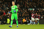 Aston Villa goalkeeper Orjan Nyland (1) celebrates a goal during the EFL Sky Bet Championship match between Derby County and Aston Villa at the Pride Park, Derby, England on 10 November 2018.