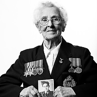 Ena Day, WAAF, 1942-1946, RT Operator, WW2 Veteran, Veterans Portrait Project UK, Eastbourne, England. n the late 1930s Ena was a government telephone exchange operator. However, desperate to actively serve her country during the Second World War, she volunteered to join the Women&rsquo;s Auxiliary Air Force in 1942.<br />