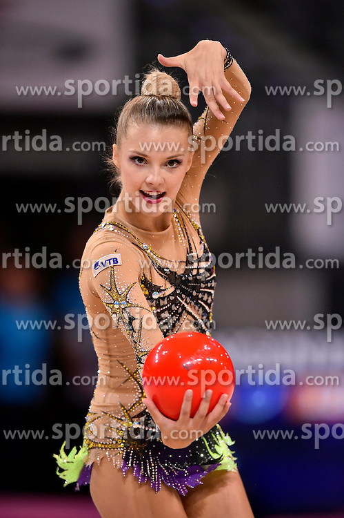07.09.2015, Porsche Arena, Stuttgart, GER, Gymnastik WM, im Bild Laura Jung (GER) Ball // during the World Rhythmic Gymnastics Championships at the Porsche Arena in Stuttgart, Germany on 2015/09/07. EXPA Pictures &copy; 2015, PhotoCredit: EXPA/ Eibner-Pressefoto/ Weber<br /> <br /> *****ATTENTION - OUT of GER*****