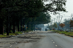 05 Sept  2005. New Orleans, Louisiana. Post hurricane Katrina.<br /> I-90, Chef Menteur Highway in Eastern New Orleans is deserted following the devastating hurricane.<br /> Photo; ©Charlie Varley/varleypix.com