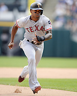 CHICAGO - JULY 01:  Delino Deshields #3 of the Texas Rangers runs the bases against the Chicago White Sox on July 1, 2017 at Guaranteed Rate Field in Chicago, Illinois.  The Rangers defeated the White Sox 10-4.  (Photo by Ron Vesely) Subject:   Delino Deshields