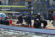 London, UK,  2014 Varsity, Annual Tideway Week. Press Launch, PANACHE, arrives at the Hard. 10:07:40  Tuesday  01/04/2014  : [Mandatory Credit Intersport Images]