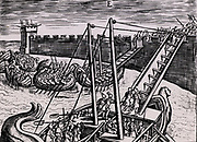Roman soldiers scaling the walls of a fortress using ladders mounted on boats.   From 'Poliorceticon sive de machinis tormentis telis' by Justus Lipsius (Joost Lips) (Antwerp, 1605). Engraving.