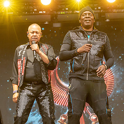 May 25, 2018 - Napa, California, U.S - RALPH JOHNSON and PHILIP BAILEY of Earth, Wind and Fire during BottleRock Music Festival at Napa Valley Expo in Napa, California (Credit Image: © Daniel DeSlover via ZUMA Wire)