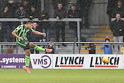 Lyle Taylor of AFC Wimbledon takes advantage of a rare moment to shoot on goal during the Sky Bet League 2 match between Barnet and AFC Wimbledon at Underhill Stadium, London, England on 20 February 2016. Photo by Stuart Butcher.