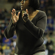 George Mason Women's Head Coach Jeri Porter in action i the first half of a regular season NCAA basketball game against Delaware Thursday, Jan 10, 2013 at the Bob Carpenter Center in Newark Delaware...Delaware (10-3; 1-0) defeated George Mason (5-8; 0-2) 62-27..Delaware is riding a four-game winning streak after defeating George Mason, St. John's in over- time on Jan. 2 and Villanova (Dec. 29) and Duquesne (Dec. 30) to capture the 2012 Dartmouth Blue Sky Classic title.