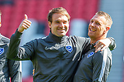 Brett Pitman (#8) and Lee Brown (#3) of Portsmouth FC on the pitch before the EFL Sky Bet League 1 match between Sunderland and Portsmouth at the Stadium Of Light, Sunderland, England on 17 August 2019.
