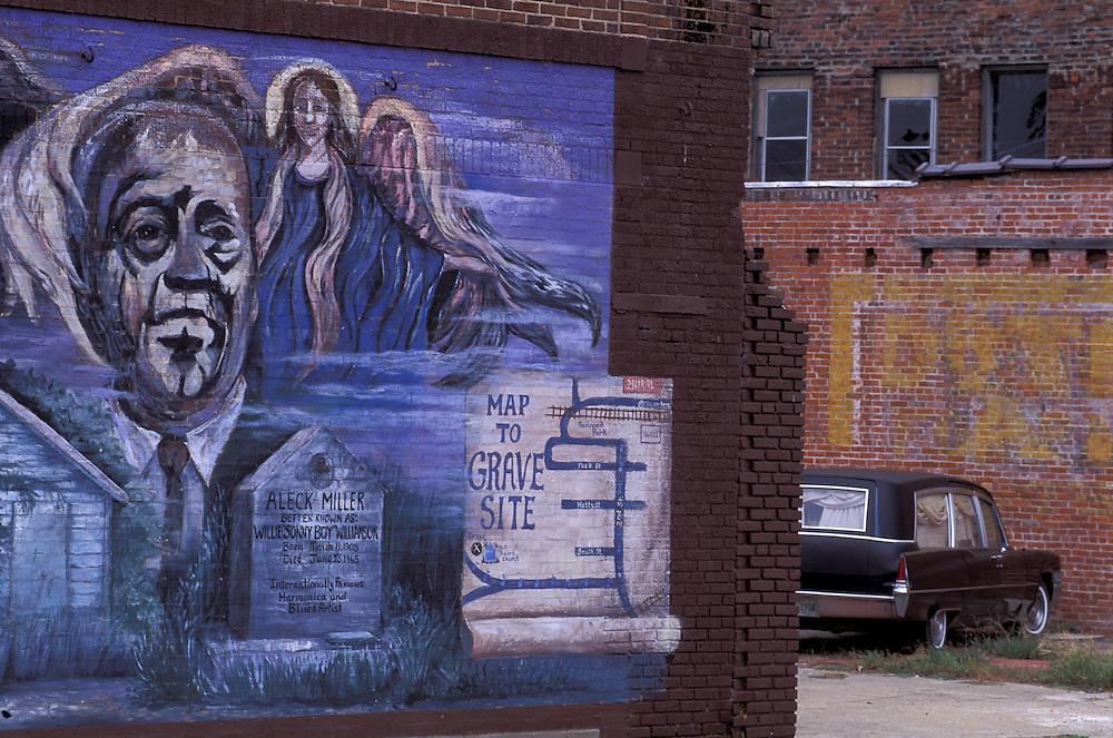 Mural on Brickstonewall, Tutwiler, Mississippi, USA
