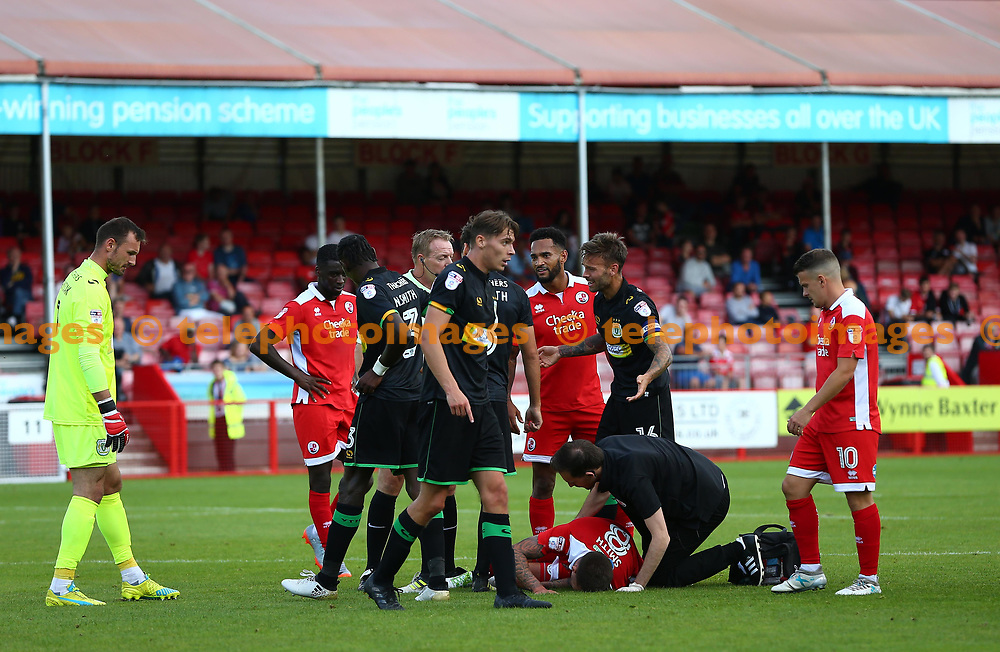Jimmy Smith of Crawley gets treatment after a heavy challenge during the Sky Bet League 2 match between Crawley Town and Yeovil Town at the Checkatrade Stadium in Crawley. 02 Sep 2017