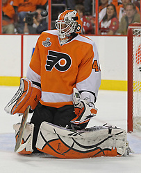 June 9, 2010; Philiadelphia, PA; USA;  Philadelphia Flyers goalie Michael Leighton (49) makes a save during the second period of Game 6 of the Stanley Cup Finals at the Wachovia Center.