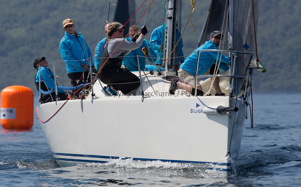 Silvers Marine Scottish Series 2017<br /> Tarbert Loch Fyne - Sailing<br /> <br /> GBR9470R, Banshee, Charlie Frize, CCC, Corby 33.