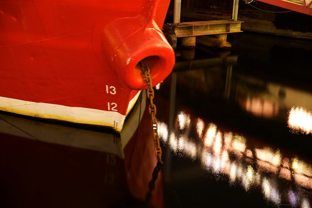 The 1904 Lightship Swiftsure featuring it's unusual bow at it's permeant home at the Historic ships Wharf in Seattle.