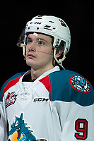 KELOWNA, CANADA - JANUARY 25: Mark Liwiski #9 of the Kelowna Rockets stands on the blue line during the national anthem against the Victoria Royals  on January 25, 2019 at Prospera Place in Kelowna, British Columbia, Canada.  (Photo by Marissa Baecker/Shoot the Breeze)
