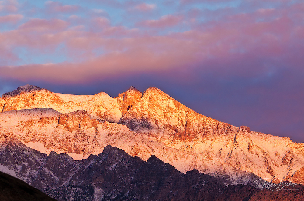 Dawn light on the Sierra crest from the Alabama Hills, Inyo National Forest, California