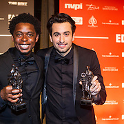 NLD/Amsterdam/20150202 - Edison Awards 2015, Typhoon en Dotan met hun awards