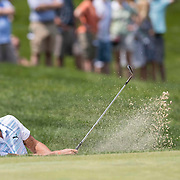 DUBLIN, OH - JUNE 03: PGA golfer Rickie Fowler hits the ball out of the bunker during the Memorial Tournament - Third Round on June 3, 2017 at Muirfield Village Golf Club in Dublin, Ohio (Photo by Khris Hale/Icon Sportswire)