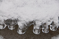 This ice formation looks like boots lined up in a row covered in frosted snow. Taken during the extreme cold spell of February 2012 in Switzerland.