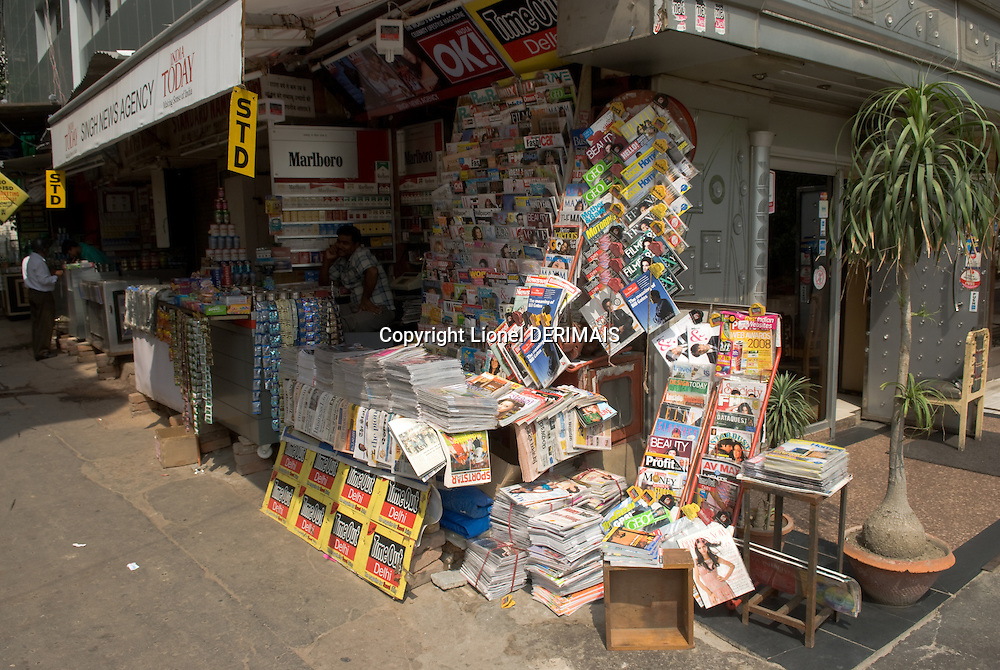 Newsagent in Defence colony, New Delhi, India.