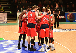 Bristol Flyers huddle in. - Photo mandatory by-line: Alex James/JMP - 25/02/2018 - BASKETBALL - Plymouth Pavilions - Plymouth, England - Plymouth Raiders v Bristol Flyers - British Basketball League
