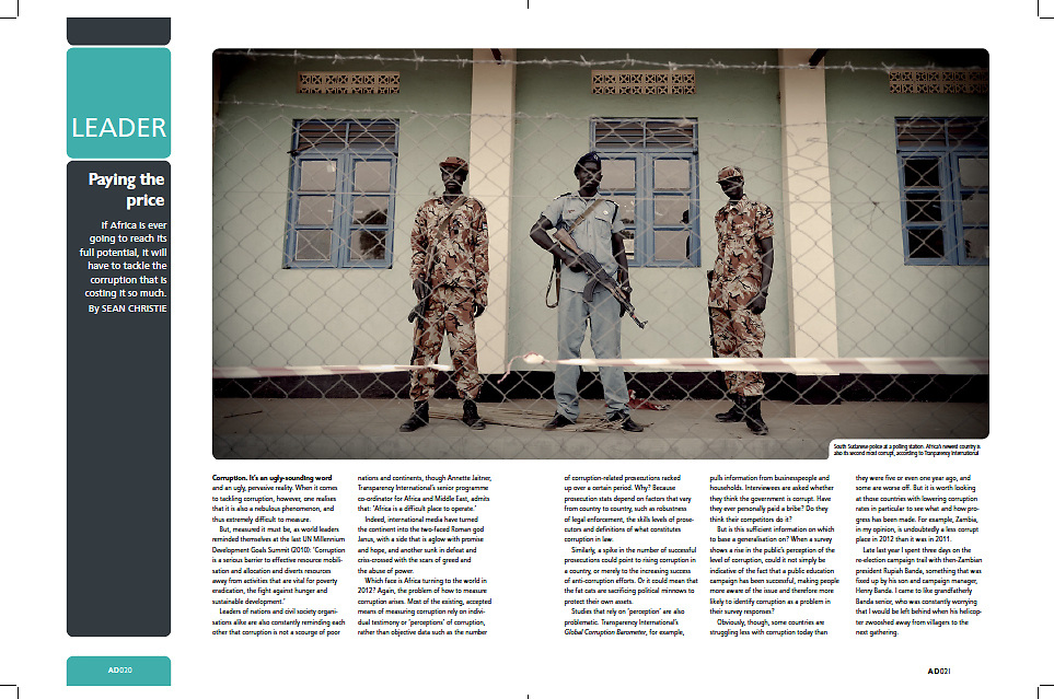 "Tearsheet of ""South Sudan referendum"" published in Africa Decisions Magazine"