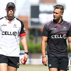 Robert du Preez with Jeremy Ward during the cell c sharks pre season training session at  Growthpoint Kings Park ,22,01,2018 Photo by Steve Haag)