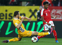 24.03.2017, Ernst Happel Stadion, Wien, AUT, FIFA WM 2018 Qualifikation, Oesterreich vs Moldawien, Gruppe D, im Bild Victor Golovatenco (MDA) und David Alaba (AUT) // during the FIFA World Cup 2018, group D qualifying match between Austria and Moldova at the Ernst Happel Stadion in Wien, Austria on 2017/03/24. EXPA Pictures © 2017, PhotoCredit: EXPA/ Thomas Haumer