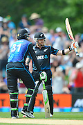 Brendon McCullum of the Black Caps celebrates 50 with Martin Guptill of the Black Caps  during the First Cricket ODI, Black Caps V Sri Lanka, Hagley Oval, Christchurch, New Zealand. 26th December 2015. Copyright Photo: John Davidson / www.photosport.nz