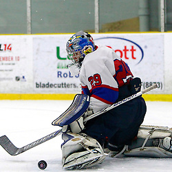 TORONTO, ON - Feb 16 : Ontario Junior Hockey League Game Action between the Milton Ice Hawks and the Toronto Jr. Canadiens, Michael Bullion #29 of the Toronto Junior Canadians Hockey Club makes the save during second period game action.<br /> (Photo by Brian Watts / OJHL Images)