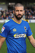 AFC Wimbledon defender George Francomb (7) walking onto pitch during the EFL Sky Bet League 1 match between AFC Wimbledon and Plymouth Argyle at the Cherry Red Records Stadium, Kingston, England on 21 October 2017. Photo by Matthew Redman.