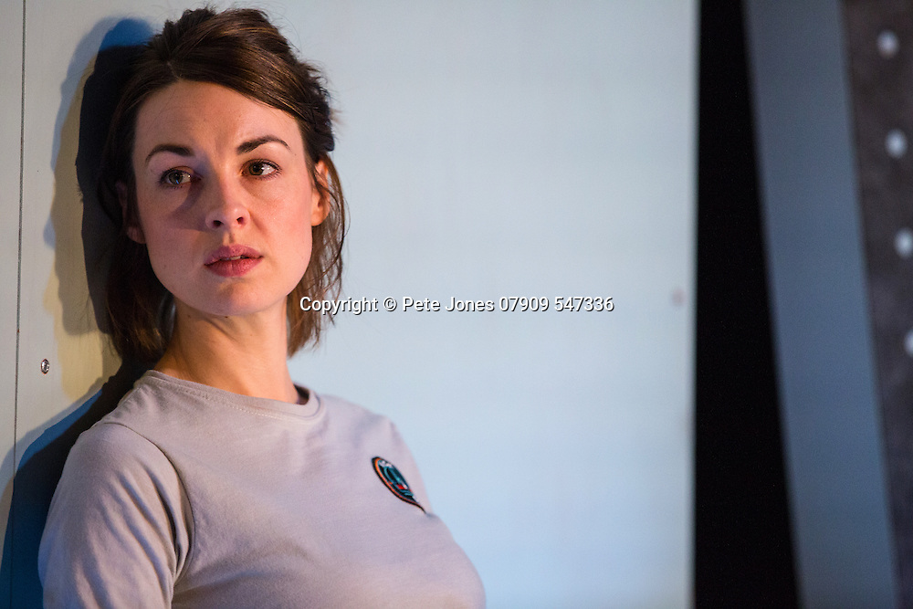 """X"" by Alistair McDowell;<br /> Directed by Vicky Featherstone;<br /> Jessica Raine as Gilda;<br /> 1 April 2016;<br /> Jerwood Theatre Downstairs, Royal Ct, London, UK"