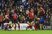 Masixole Banda takes the ball in mid air during the Guinness Pro 14 2018_19 match between Edinburgh Rugby and Southern Kings at BT Murrayfield Stadium, Edinburgh, Scotland on 5 January 2019.