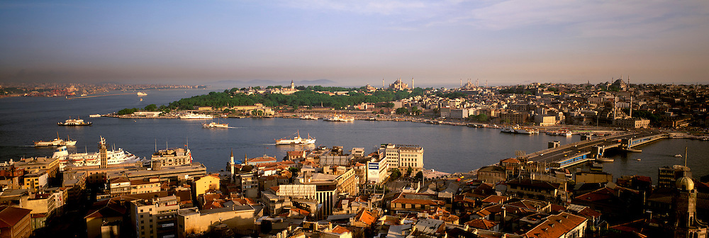 TURKEY, ISTANBUL, View across the Golden Horn toward old Istanbul with Aya Sofya (Santa Sophia) to the left and the Blue Mosque right