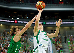 Simas Jasaitis of Lithuania vs Edo Muric of Slovenia during friendly match before Eurobasket Lithuania 2011 between National teams of Slovenia and Lithuania, on August 24, 2011, in Arena Stozice, Ljubljana, Slovenia. Slovenia defeated Lithuania 88-66. (Photo by Vid Ponikvar / Sportida)