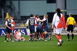 16-03-2008 VOETBAL: FC UTRECHT - AZ: UTRECHT<br /> Utrecht en AZ verdelen de punten 2-2 / Opstootje met Gregoor van Dijk en Mounir El Hamdaoui<br /> ©2008-WWW.FOTOHOOGENDOORN.NL