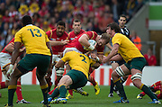Twickenham, Great Britain,  Waless', Alun WYN JONES, halted by the Australian defence, during the Pool A game, Australia vs Wales.  2015 Rugby World Cup,  Venue, Twickenham Stadium, Surrey, ENGLAND.  Saturday  10/10/2015.   [Mandatory Credit; Peter Spurrier/Intersport-images]