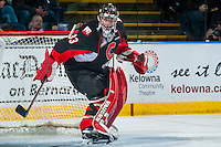 KELOWNA, CANADA - FEBRUARY 18: Nick McBride #33 of the Prince George Cougars defends the net against the Kelowna Rockets on February 18, 2017 at Prospera Place in Kelowna, British Columbia, Canada.  (Photo by Marissa Baecker/Shoot the Breeze)  *** Local Caption ***