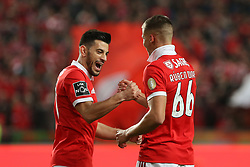 February 17, 2018 - Lisbon, Lisbon, Portugal - Benficas defender Ruben Dias from Portugal (R) celebrating with Benficas midfielder Pizzi from Portugal (L) after scoring a goal during the Premier League 2017/18 match between SL Benfica v Boavista FC, at Luz Stadium in Lisbon on February 17, 2018. (Credit Image: © Dpi/NurPhoto via ZUMA Press)
