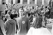 Ravers dancing on top of truck, 1st Criminal Justice March, Trafalgar Square, London, UK, 1st of May 1994.