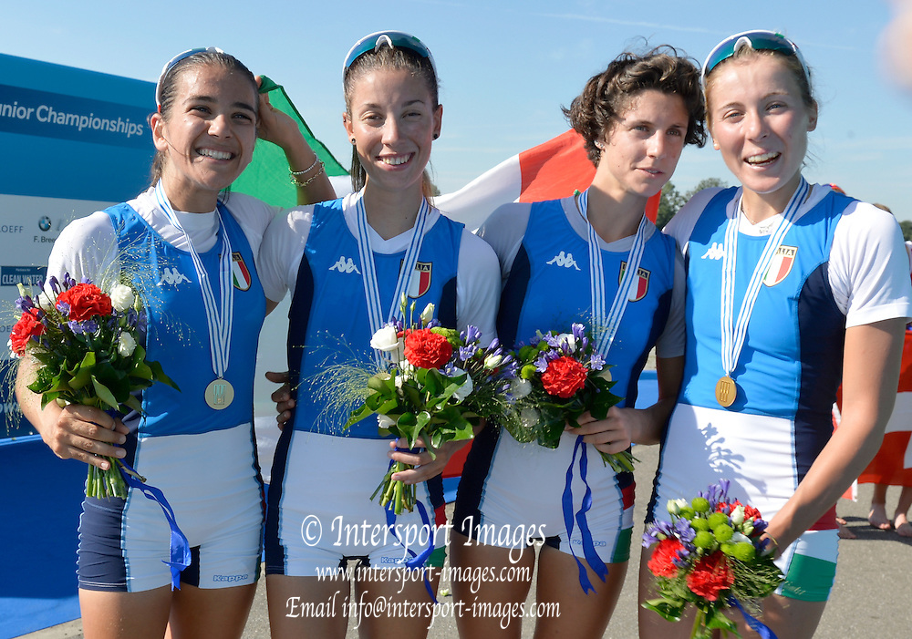 Rotterdam. Netherlands.  ITA BLW4X. Bow. Paola PIAZZOLLA,  Asja MAREGOTTO,  Allegra FRANCALACCI,  Giorgia LO BUE,  2016 JWRC, U23 and Non Olympic Regatta. Awards dock     2016 JWRC, U23 and Non Olympic Regatta. {WRCH2016}  at the Willem-Alexander Baan.   Thursday  25/08/2016<br /> <br /> [Mandatory Credit; Peter SPURRIER/Intersport Images]