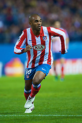 MADRID, SPAIN - Wednesday, October 22, 2008: Club Atletico de Madrid's Florent Sinama Pongolle in action against Liverpool during the UEFA Champions League Group D match at the Vicente Calderon. (Photo by David Rawcliffe/Propaganda)