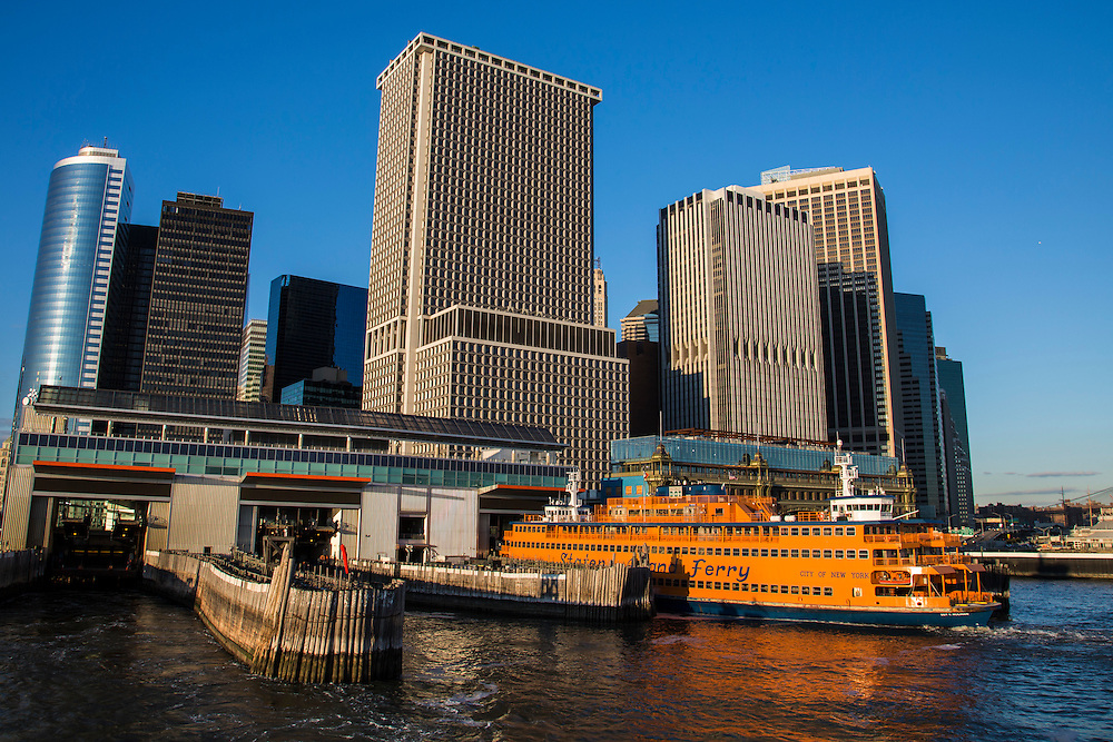 A famous orange Staten Island Ferry waits in the Whitehall Terminal in Lower Manhattan, New York City, New York, United States of America. The Staten Island Ferry is a passenger ferry service operated by the New York City Department of Transportation. It runs 5.2 miles (8.4 km) in New York Harbor between the New York City boroughs of Manhattan and Staten Island. The ferry operates 24/7. (photo by Andrew Aitchison / In pictures via Getty Images)