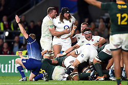 Harry Williams of England celebrates with team-mates as England are awarded a penalty at a scum - Mandatory byline: Patrick Khachfe/JMP - 07966 386802 - 03/11/2018 - RUGBY UNION - Twickenham Stadium - London, England - England v South Africa - Quilter International