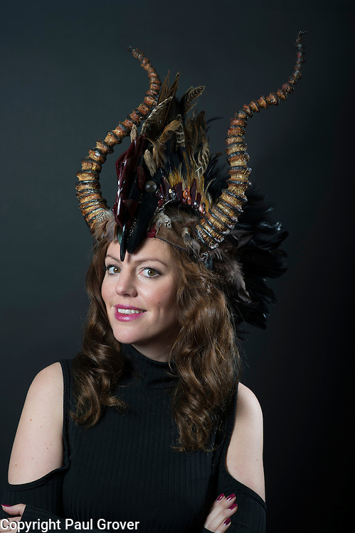 Milliner Natalie Ellner pictured in her studio wearing one of her creations Rusted Horns a headpiece one 1 of 11 that she is providing to dress each set of guests with spectacular animal masks and headgear at the Animal Ball 2016 on November 22nd, the world's greatest fashion houses will collaborate to dress a bestiary of beautiful creatures from all corners of British society to celebrate and protect nature's greatest masterpieces