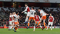Football - 2018 / 2019 EFL Carabao (League) Cup - Fourth Round: Arsenal vs. Blackpool<br /> <br /> Paudie O'Connor (Blackpool FC) heads the ball home to give Blackpool a chance at The Emirates.<br /> <br /> COLORSPORT/DANIEL BEARHAM