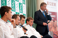 (L-R) Jerzy Janowicz & Radoslaw Szymanik - captain national team & Mariusz Fyrstenberg & Marcin Matkowski all from Poland and Adam Romer while press conference three days before the BNP Paribas Davis Cup 2013 between Poland and Australia at Torwar Hall in Warsaw on September 10, 2013.<br /> <br /> Poland, Warsaw, September 10, 2013<br /> <br /> Picture also available in RAW (NEF) or TIFF format on special request.<br /> <br /> For editorial use only. Any commercial or promotional use requires permission.<br /> <br /> Photo by © Adam Nurkiewicz / Mediasport