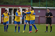 Hollands and Blair midfielder Brett Ince (centre) is congratulated during the Southern Counties East match between AFC Croydon Athletic and Hollands & Blair at the Mayfield Stadium, Croydon, United Kingdom on 10 October 2015. Photo by Mark Davies.