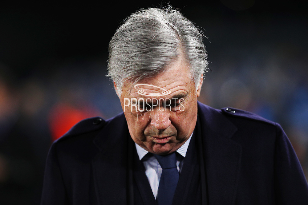 Napoli head coach Carlo Ancelotti on the bench before the UEFA Champions League, Group E football match between SSC Napoli and KRC Genk on December 10, 2019 at Stadio San Paolo in Naples, Italy - Photo Federico Proietti / ProSportsImages / DPPI