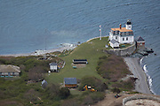 Newport, RI 2006 - Aerial view of Rose Island light house, Narragansett bay