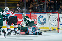 KELOWNA, CANADA - FEBRUARY 2:  Nolan Foote #29 of the Kelowna Rockets lies on the ice in front of the net of Carter Hart #70 of the Everett Silvertips on FEBRUARY 2, 2018 at Prospera Place in Kelowna, British Columbia, Canada.  (Photo by Marissa Baecker/Shoot the Breeze)  *** Local Caption ***